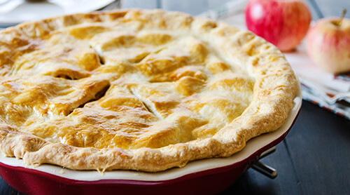 Apple pie in baking dish