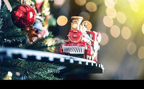 Closeup of holiday model train