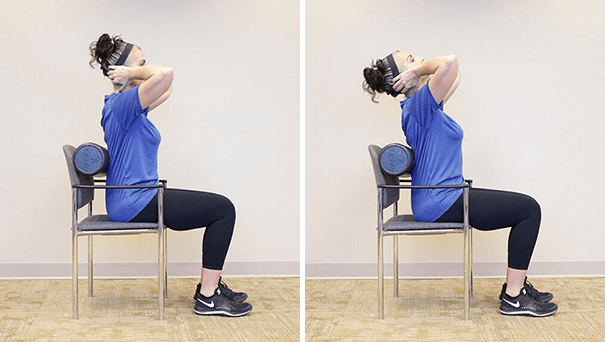 Seated thoracic extension with foam roller