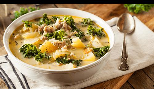 Bowl of Bean Sausage Kale Soup