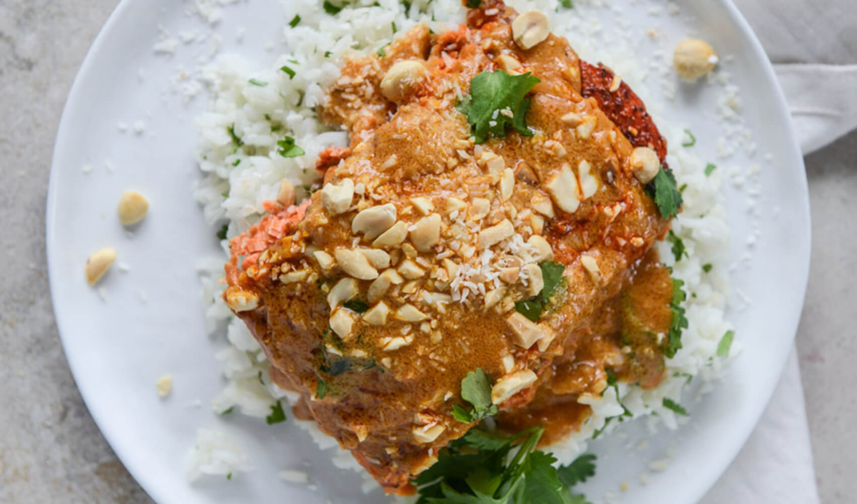 Salmon with Thai Curry Peanut Sauce and Coconut Cilantro Rice
