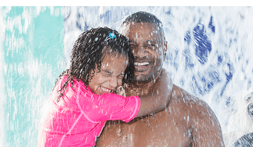 Father and Daughter at Swim Water Park