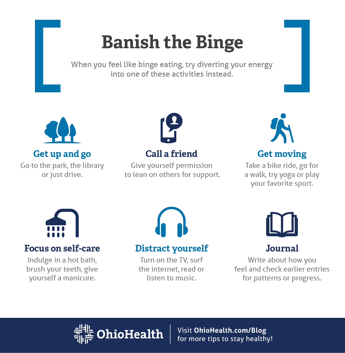 Infographic with tips for diverting your energy when feeling like binge eating