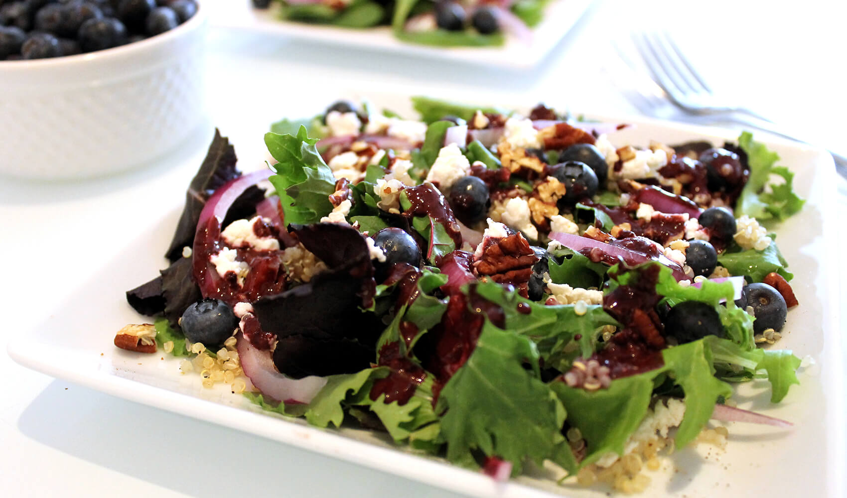 Blueberry Pecan Salad with Quinoa & Goat Cheese