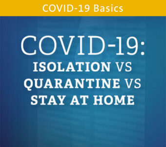 Blue background with text overtop that says COVID-19: Isolation vs Quarantine vs Stay at Home Blog