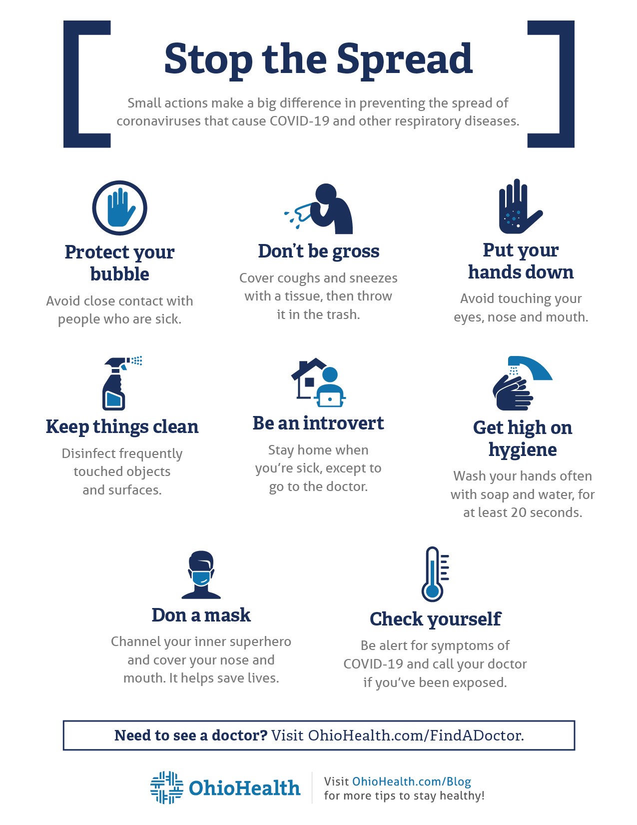 Infographic with tips on stopping the spread of COVID-19