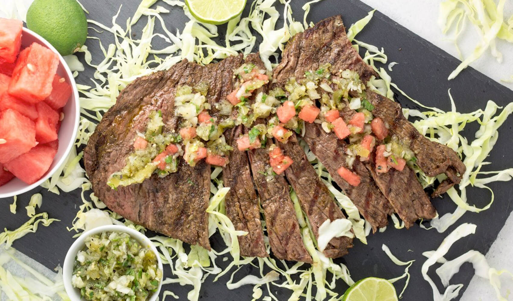 Grilled Carne Asada with Tomatillo Watermelon Salsa