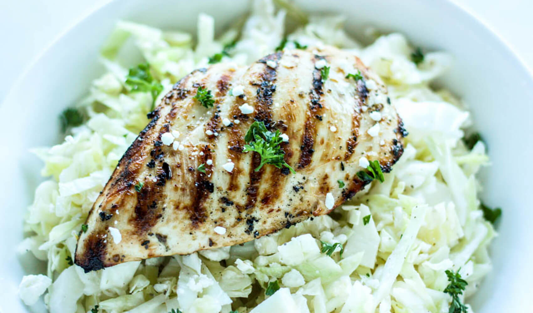 Grilled Greek Chicken and Easy Cabbage Slaw