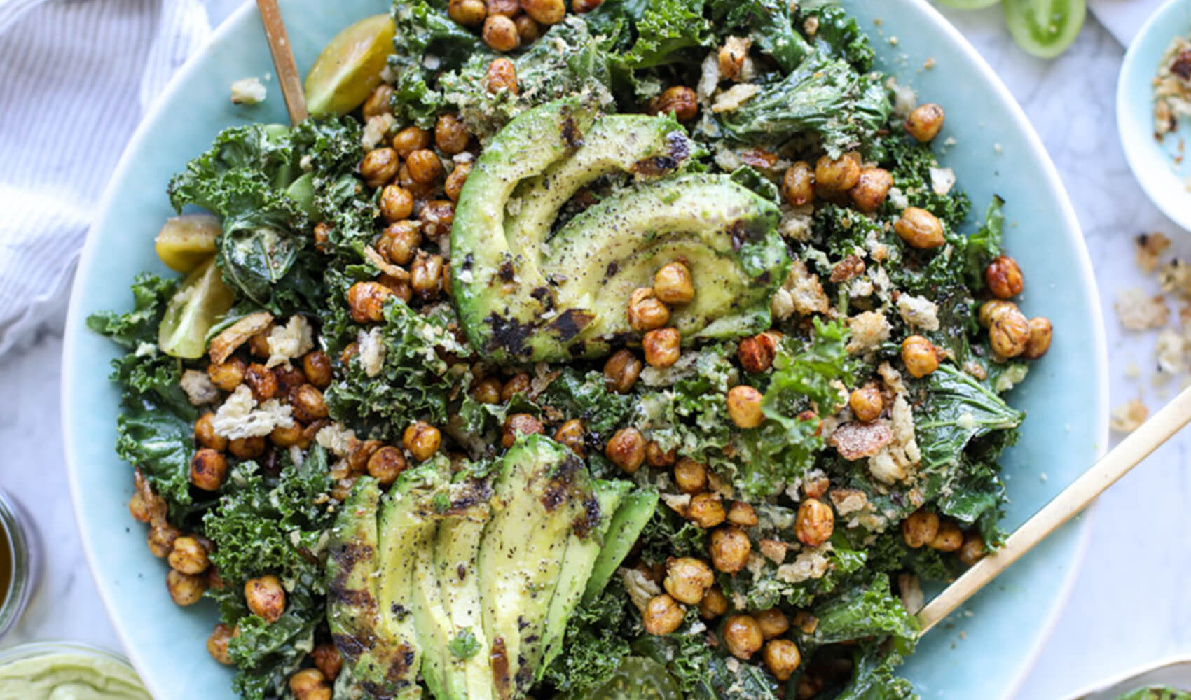 Grilled Kale Avocado Salad