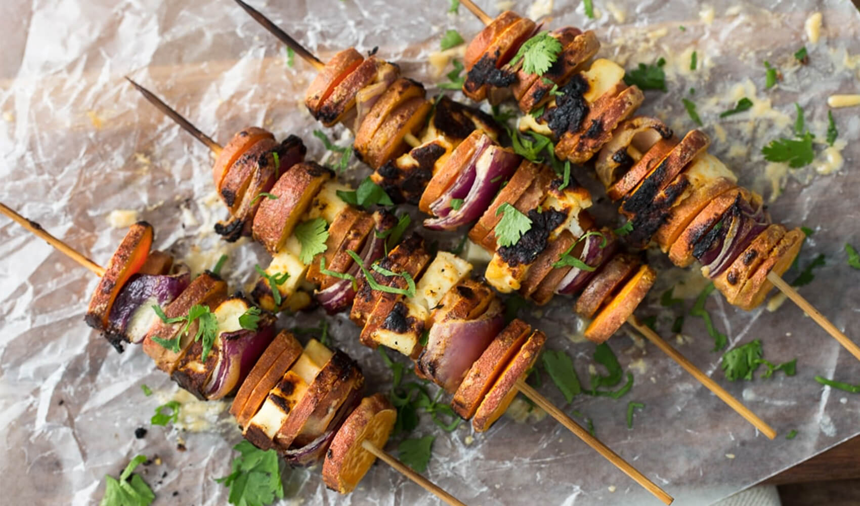Grilled Sriracha-Tahini Sweet Potato Skewers with Halloumi