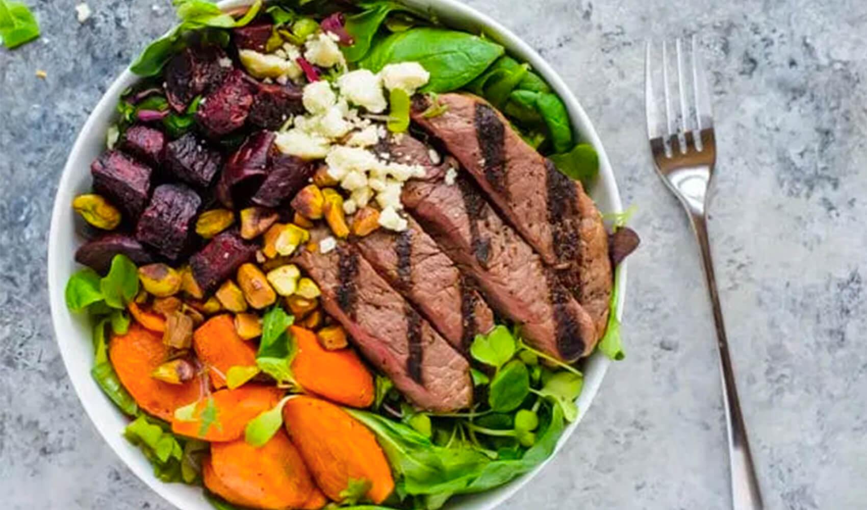 Grilled Steak Salad with Roasted Rainbow Veggies