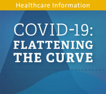 Blue graph background with text overtop that says COVID-19: Flattening the Curve