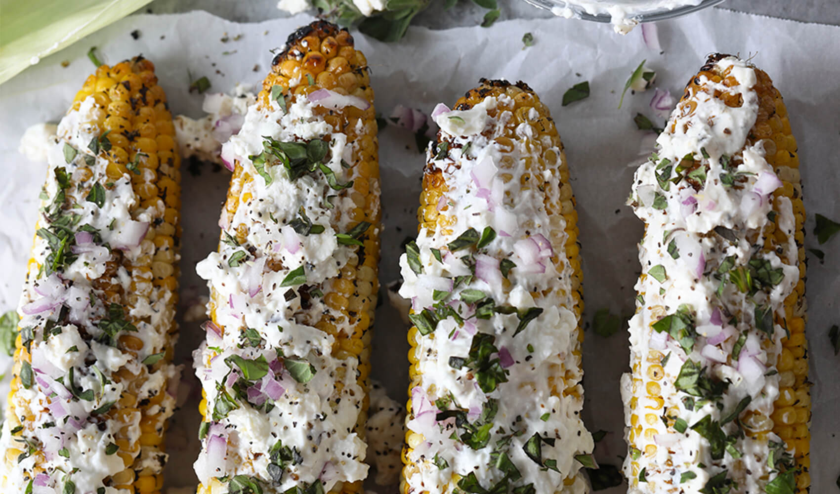 Mediterranean Grilled Street Corn with Feta Cheese