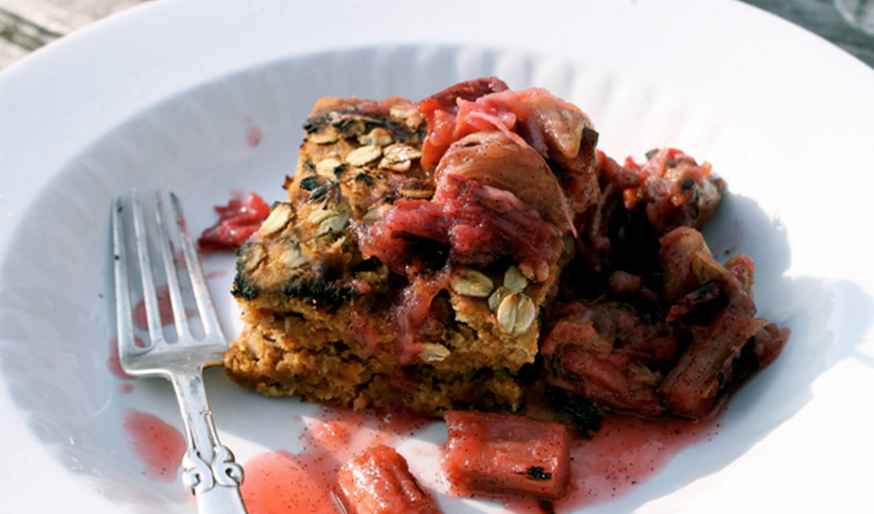Simple Strawberry Cake with Grilled Rhubarb Vanilla Sauce