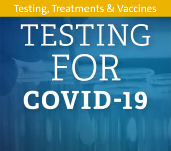 Blue test tube background with text that says Testing for COVID-19