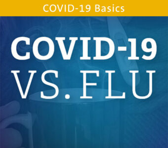 Sick person image under blue overlay with text on top that says COVID-19 vs. flu