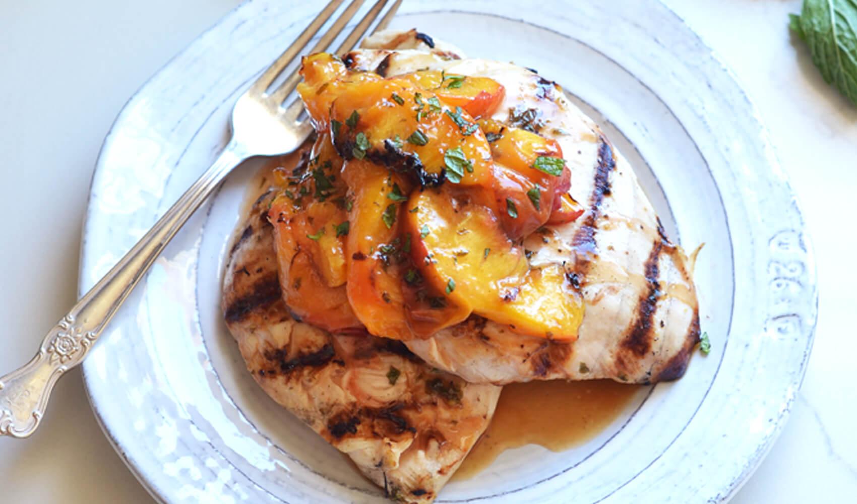 Grilled Mojito Chicken & Peaches
