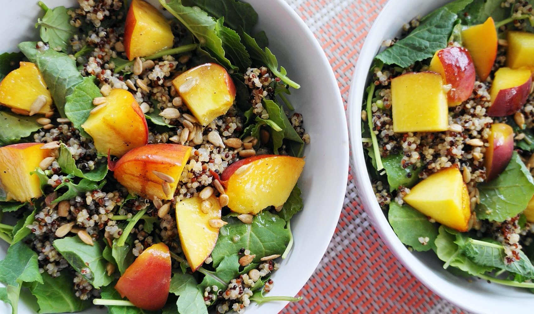 Grilled Peach & Kale Salad with Dijon Vinaigrette