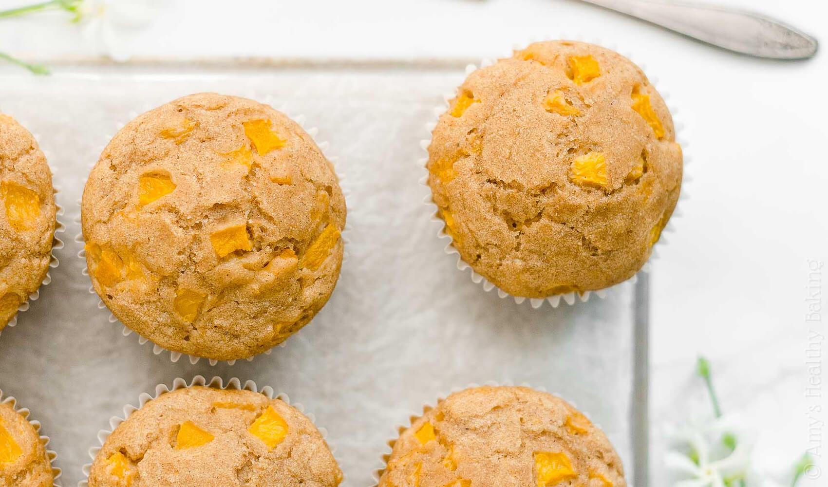 Healthy One-Bowl Peach Muffins