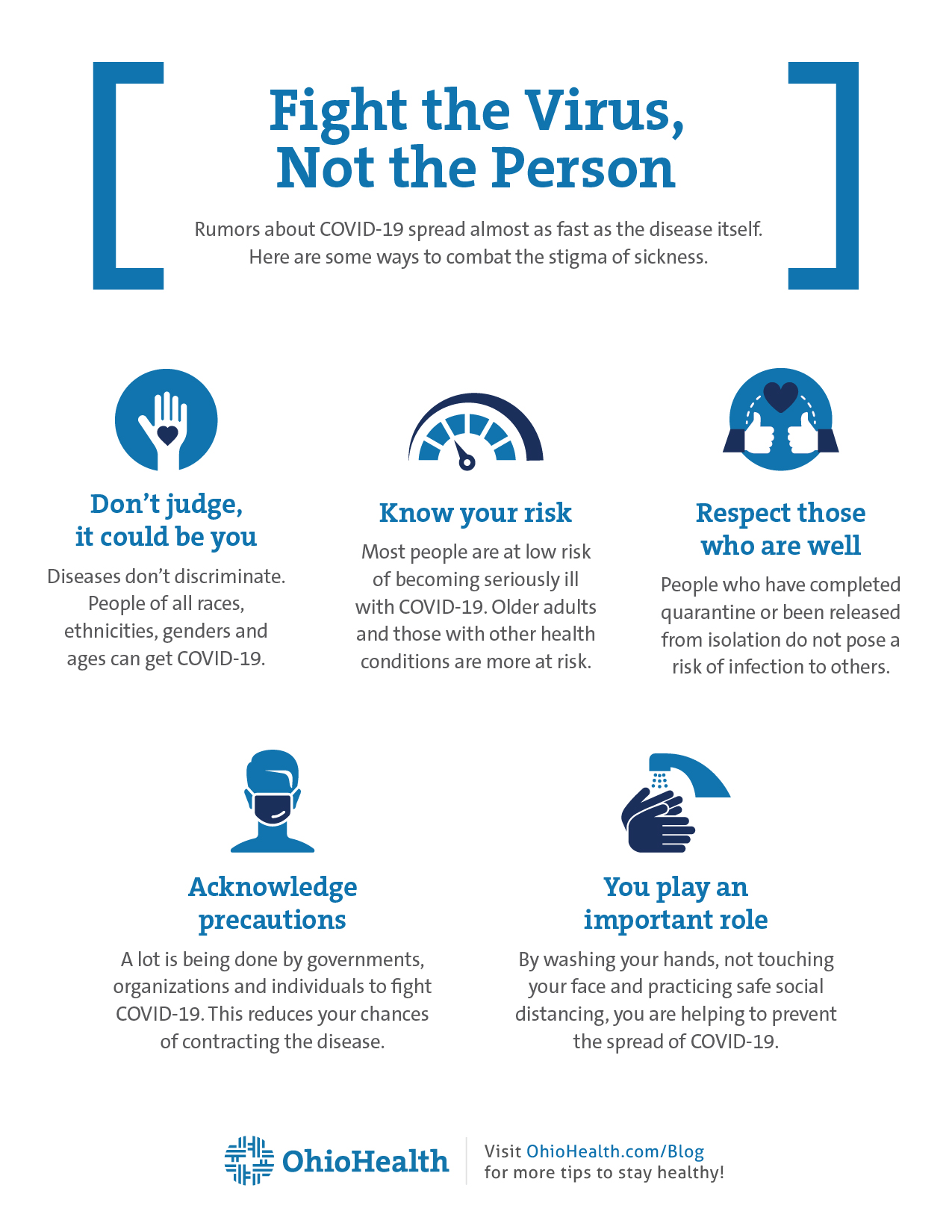 Infographic with tips of combatting the stigma of sickness during COVID-19 pandemic