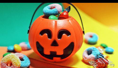 Pumpkin basket full of candy